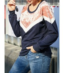 yoins fleece navy patchwork round neck long sleeves sweatshirt