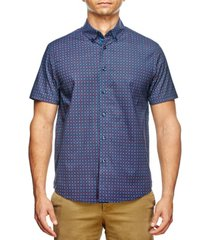 tallia men's slim fit houndstooth print short sleeve shirt and a free face mask