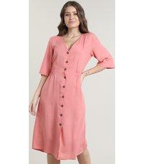 vestido feminino midi com botões e linho manga curta coral