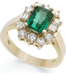 14k gold ring, emerald (1-5/8 ct. t.w.) and diamond (3/4 ct. t.w.) ring