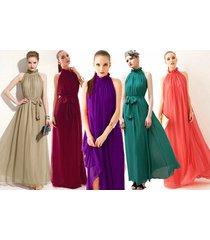 8 colors elegant off-shoulder long big ham shirt dress sleeveless party