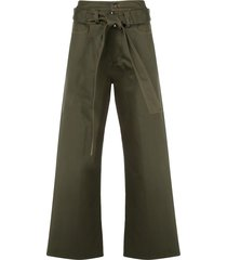 delada high-waisted belted trousers - green