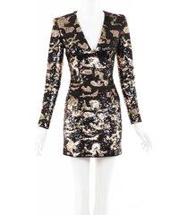 balmain sequin mini dress black/gold/animal print sz: xs