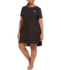 calvin klein plus size logo-print jersey knit sleep shirt
