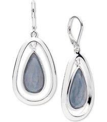 anne klein silver-tone medium blue colored stone drop earrings