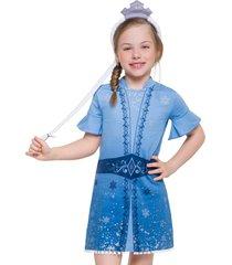 pijama fantasia elsa veggi azul - azul - menina - algodã£o - dafiti