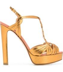 francesco russo braided strap platform sandals - gold