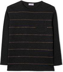 brunello cucinelli dark grey cotton sweater
