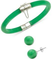 2-pc. set dyed green jade (6mm) bangle bracelet & green jade (10mm) stud earrings in sterling silver