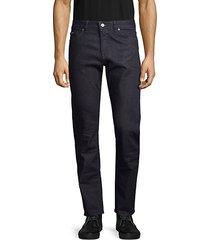 textured regular-fit dark jeans