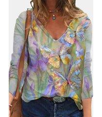 camicetta vintage a maniche lunghe con stampa floreale di farfalle multicolori per donna