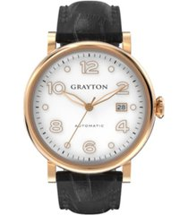 grayton men's classic collection black crocodile-embossed leather strap watch 44mm