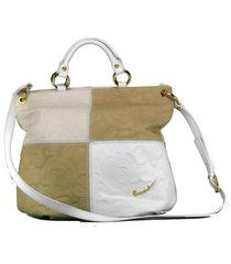 borsa a mano e tracolla braccialini airone b8701 bianco/beige