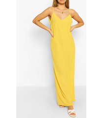 effen maxi jurk met bandjes, geel