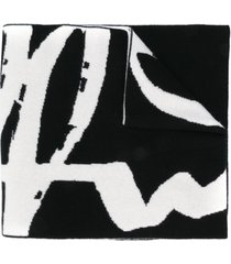 off-white offwhite felted wool scarf black white