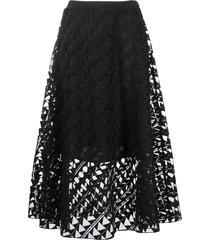 karl lagerfeld embroidered mesh skirt - black