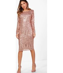 boutique sequin and mesh midi dress, rose