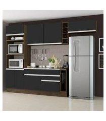 cozinha completa madesa safira com armário e balcão (sem tampo e pia) rustic/preto
