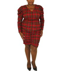 full circle trends trendy plus size printed long-sleeve dress