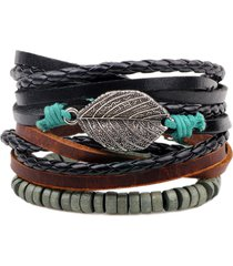 uomo retro diy braccialetto a multistrati con corda di cera in pelle con pendente di foglia