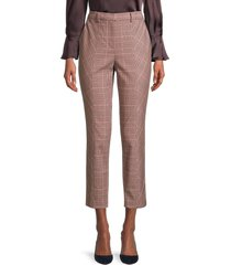 rebecca taylor women's tailored plaid pants - camel rose - size 8