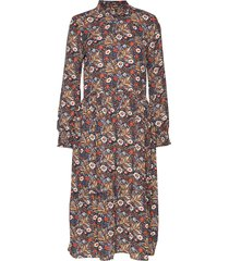 kaselly midi dress knälång klänning multi/mönstrad kaffe