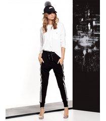 spodnie tokyo czarne z lampasami