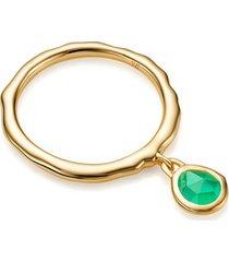 gold siren charm ring green onyx