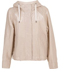 beige hooded taffeta jacket