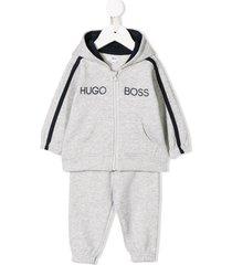 boss kidswear logo tracksuit set - grey