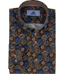 culture overhemd regular fit bruin bloemenprint