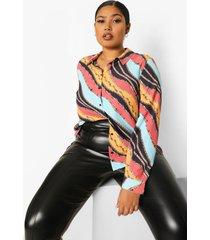 plus oversized sjaal print blouse, rust