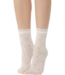 calzedonia - fancy floral-patterned socks with lace detail, one size, pink, women