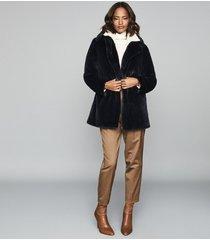 reiss lexington - faux fur coat in navy, womens, size xl