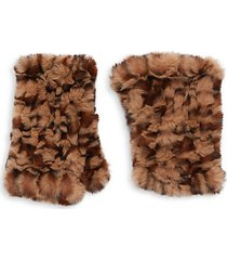 leopard-print faux fur gloves