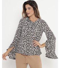 blusa com babados & amarração operate feminina - feminino
