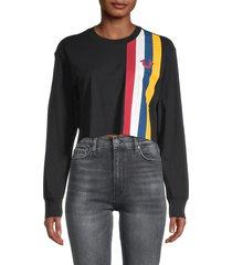 true religion women's stripe-design cotton cropped sweatshirt - black - size xxl