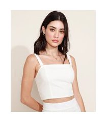 top cropped feminino com lastex alça média decote reto off white