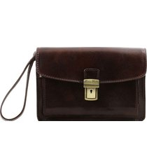 tuscany leather tl8075 max - borsello a mano in pelle testa di moro