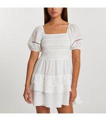 river island womens white puff sleeve check mini beach dress