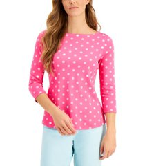 charter club cotton dot-print top, created for macy's