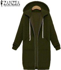 nueva llegada zanzea abrigos de invierno chaqueta mujer sudaderas con capucha largas abrigo casual cremallera prendas de abrigo sudaderas con capucha tallas grandes (verde militar) -verde