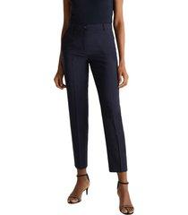 con lana: pantalón formal medium rise azul marino esprit