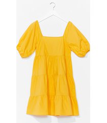 womens tiers to the weekend puff sleeve mini dress - yellow