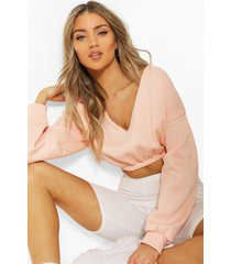 v neck crop sweater, blush