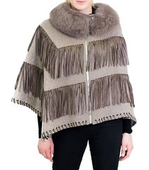 fox fur collar wool & leather fringe poncho jacket