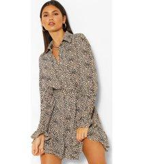 blouse jurk met geplooide zoom, ceintuur en stippen, steenrood