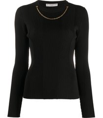 givenchy necklace-detail ribbed jumper - black