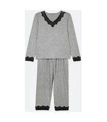pijama blusa manga longa e calça com detalhes em renda curve & plus size | ashua curve e plus size | cinza | eg