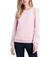1.state velour puffed-shoulder sweatshirt